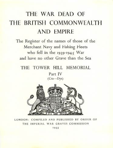 View individual pages of 'Memorial Register 22, The Tower Hill Memorial Part IV, names of those of the Merchant Navy and Fishing Fleets who fell during WW2'