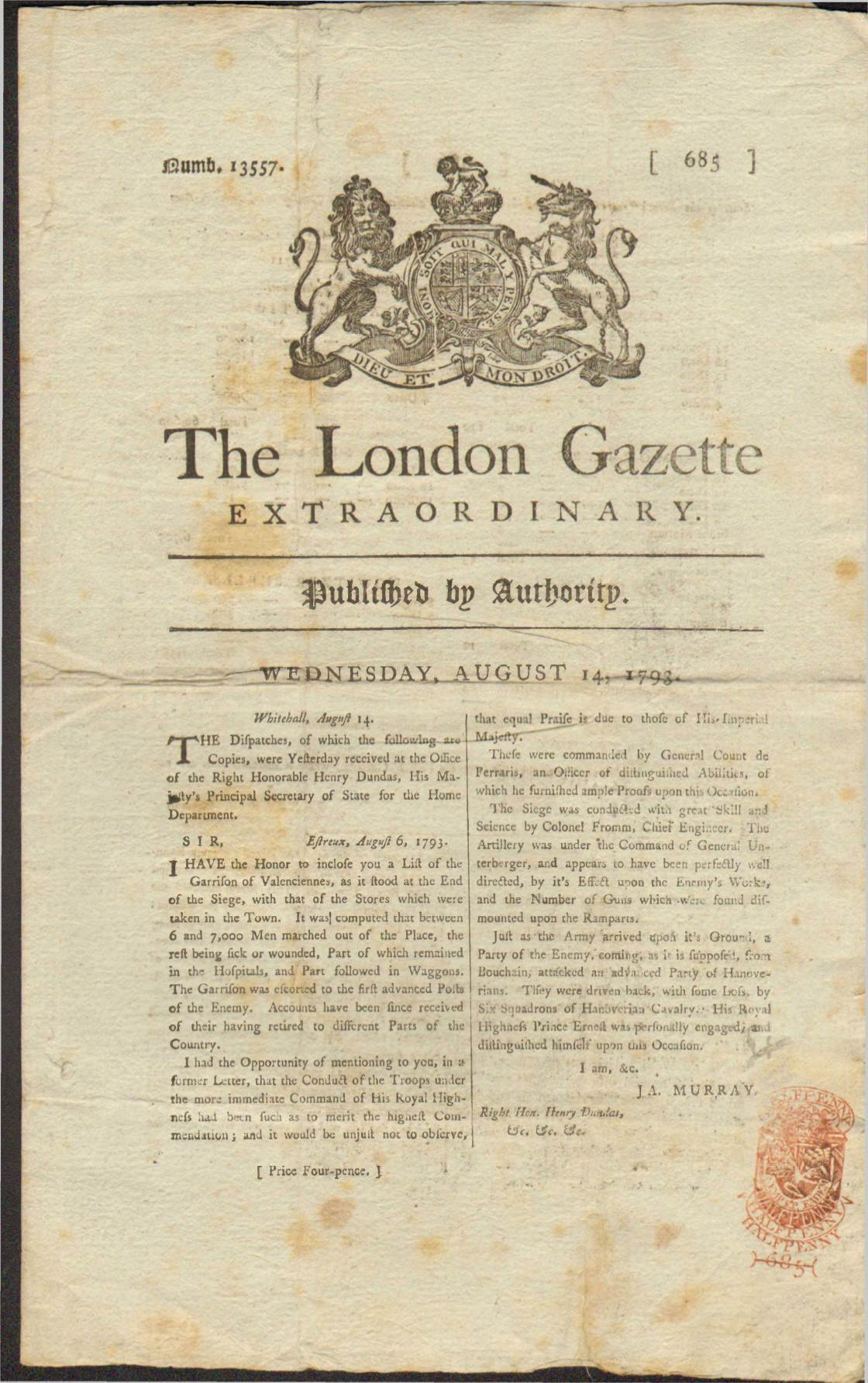 View individual pages of 'The London Gazette, Aug 14 1793'
