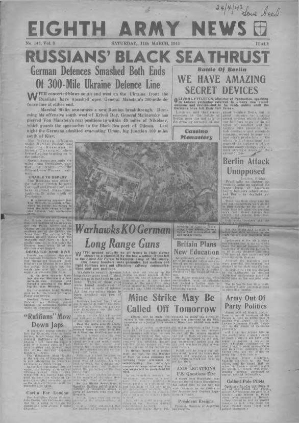 View individual pages of 'Eighth Army News  No 143 Vol 3 March 11th 1944'