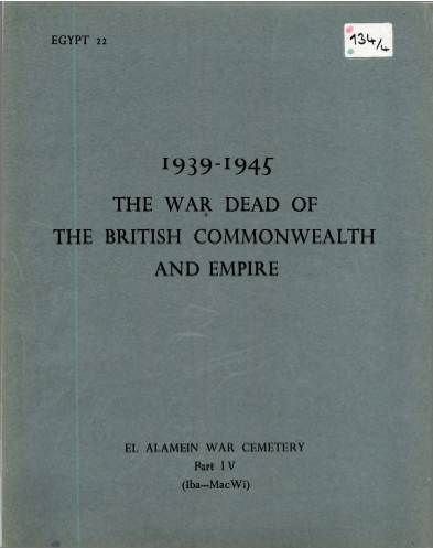 View individual pages of 'Memorial Register Egypt 22 The War Dead of The British Commonwealth and Empire 1939-1945 El Alamein War Cemetery Part IV'