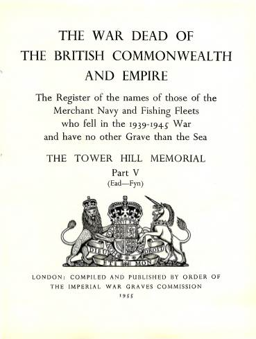 View individual pages of 'Memorial Register 22, The Tower Hill Memorial Part V, names of those of the Merchant Navy and Fishing Fleets who fell during WW2'