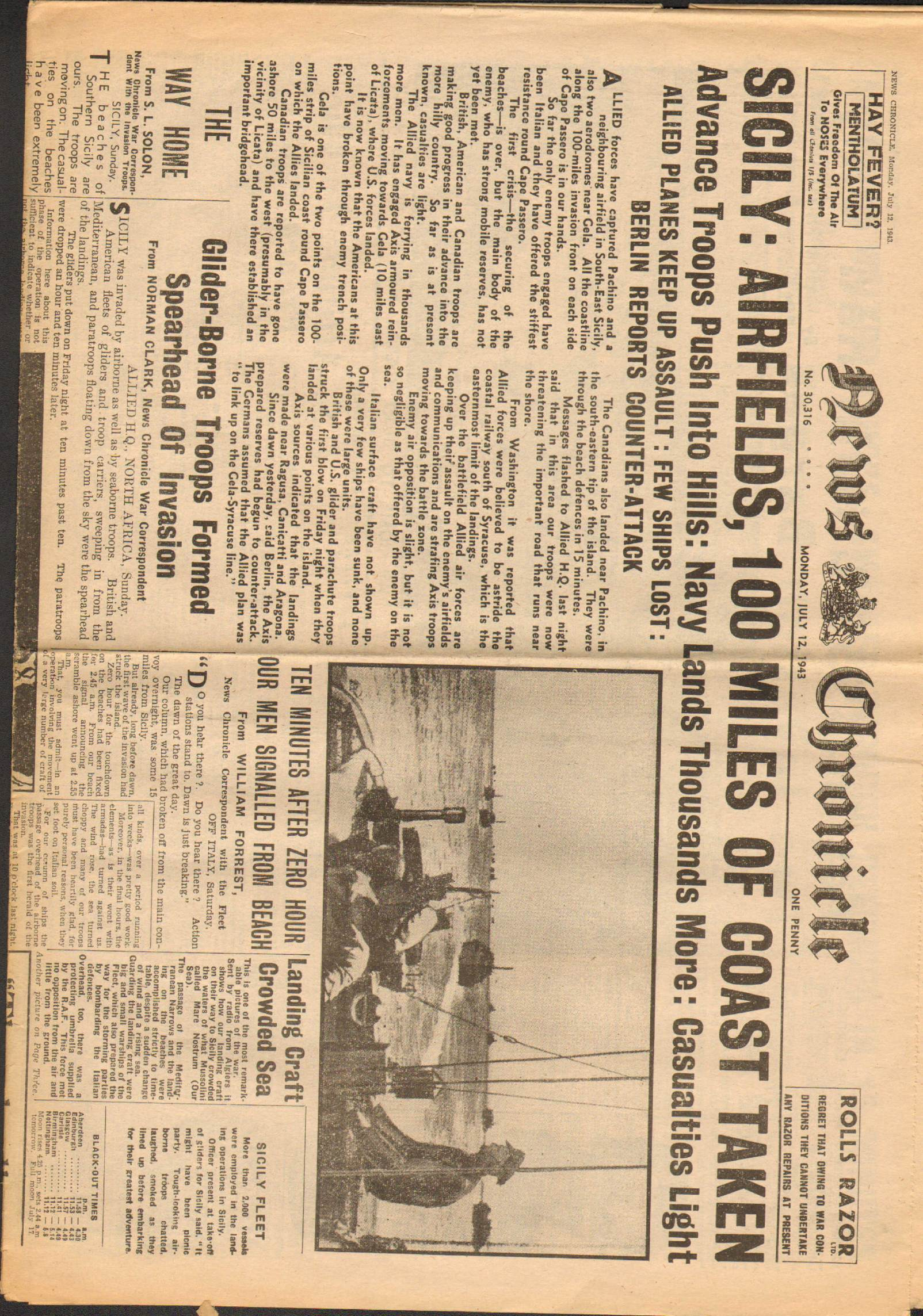 View individual pages of 'News Chronicle  July 12th 1943'